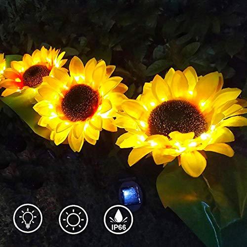 Solarleuchte Garten, Sonnenblume Solarlichter, LED Aussenleuchten Wegeleuchte, deko garten Solares schwebendes Licht Schwimmende Pool Lichter für Terrasse Rasen Garten Hinterhöfe(2 Stücke)