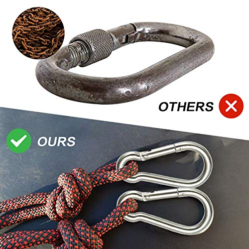MOSNOW 6 Pcs Carabiner Hooks + 4 Pcs Round Spring Snap Clips + 2 Pcs Wire Keychains, Heavy Duty 304 Stainless Steel, Carabiner Keyring Clips for Outdoor Hiking Camping Fishing (Silver)