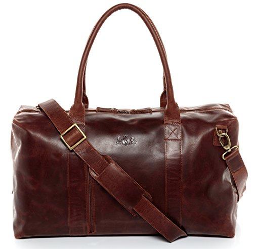 SID & VAIN Reisetasche echt Leder Yale Zip groß Sporttasche Weekender Ledertasche Unisex 53 cm braun