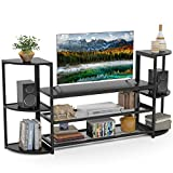 Tribesigns - Centro de entretenimiento para TV, soporte de TV con almacenamiento para televisores de pantalla plana de hasta 50 pulgadas, mesa consola de TV con estantes de malla y estanterías para el hogar y el salón