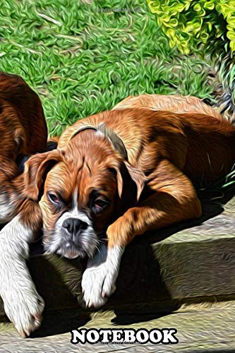 Notebook: Pair Of Boxer Dogs Relaxing Image Processed In Photosh , Journal for Writing, College Ruled Size 6