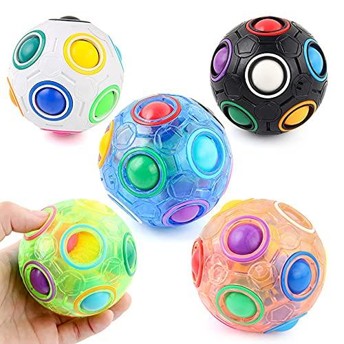 BRAINYTOYS Punta Dedo FúTbol Cube Magic Bean Rainbow Ball Cube Magic Little Magic Beans Juguete Inteligencia Cubo DescompresióN Rompecabezas,DescompresióN Dedo Bola Cubo 12 Orificios