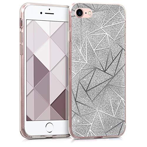 kwmobile Cover compatibile con Apple iPhone 7/8 / SE (2020) - Back Case Custodia in silicone TPU trasparente Geometrie brillanti argento