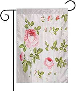 Mannwarehouse Floral Garden Flag Vintage Rose Petals Over Wooden Board Background Wedding Romance Artsy Design Premium Material W12 x L18 Baby Pink Khaki