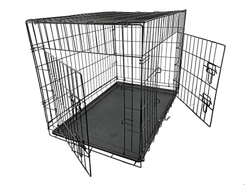 AllPetSolutions Dog Crate Home or Travel Folding Metal Cage/Kennel in Black - Size Medium 91x61x66cm