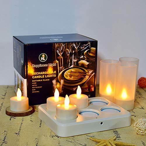 HL Wireless wiederaufladbare Teelichter, flammenlose Kerzen 3 Stunden Aufladen für 72±5 Stunden Dauerhaftes, flackerndes Kerzen-LED-Licht mit ferngesteuerten Tischlampen (gelb, 6er-Pack)