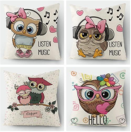 KaiXINSun Throw Pillow Fundas Paquete De 4 Funda De Almohada De 18X18 Pulgadas Funda De Sofá De Casa Cuadrada Decorativa Cremallera Invisible 45X45Cm Búho Musical
