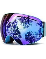Juli® skidglasögon, speglad stor för män kvinnor glasögon hållare anti-imma med utbytbara linser UV-skydd