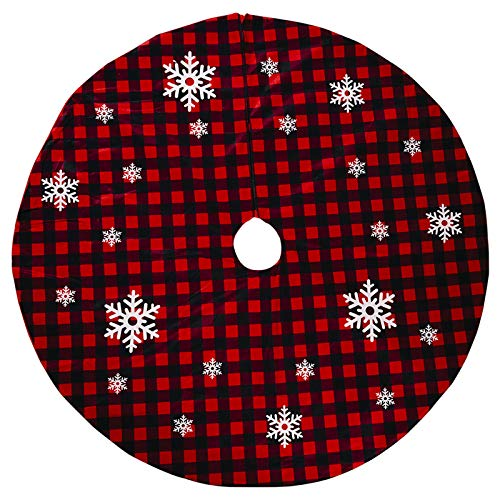 Y-POWER Weihnachtsbaum Rock Rot Und Schwarz Plaid Schneeflocke Ornament Teppich Bodenmatte Basisabdeckung Weihnachtsfeier Dekoration