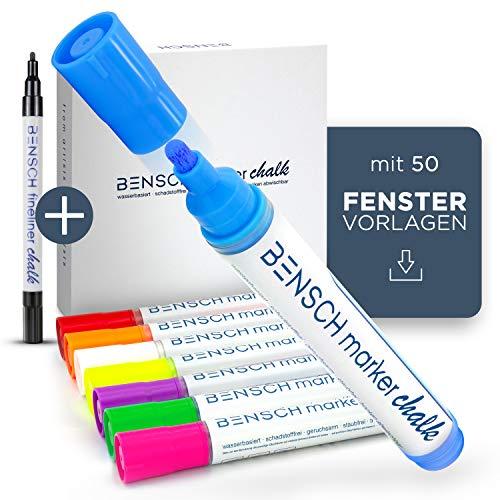BENSCH - Kreidestifte für Fenster & Tafel inkl. 50 FENSTERVORLAGEN – Komplettset mit Fineliner - 250% MEHR INHALT - Kreidemarker abwaschbar bunt - Fenster Stifte Set - mixed
