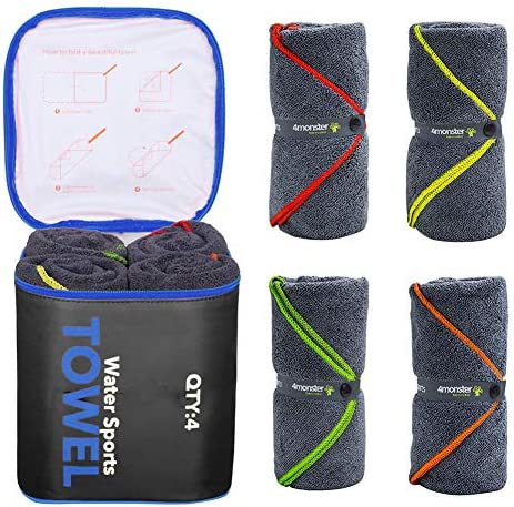 4Monster 4 Pack Microfiber Bath Towel Camping Towel Swimming Towel Sports Towel with Accessory product image