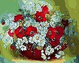 Art DIY Ölgemälde Malen Nach Zahlen Erwachsene Kinder Inklusive Pinsel Und Acrylfarben,Auf Dekor Geschenk 40X50 cm Ohne Rahmen,Blumenkorb Und Blumenstrauß