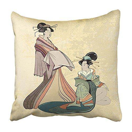 Emvency Dekorativer Überwurf-Kissenbezug, traditionelles Geisha, antikes Japan, klassischer japanischer Frauen-Stil, schönes Mädchen, 50,8 x 50,8 cm, Kissenbezug, beidseitig