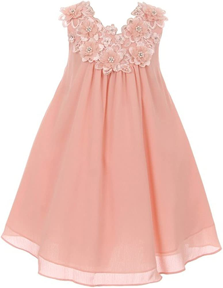 Good Girl Little Girls Blush 3D Flowers Loose Special Occasion Dress 2-6