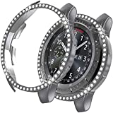 MroTech Funda Compatible con Samsung Galaxy Watch 46mm/Gear S3 Case Protector de Brillante Diamantes de imitación Cristal Bling Rugged Cover PC Estuche para S3 Frontier/Galaxy 46 mm-Rhinestones Gris