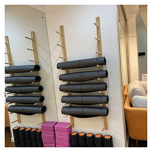 Estante de la estera de yoga Madera Estante para Esterillas de Yoga Montaje en Pared, 9 Niveles Grande Gimnasio en Casa Organizador de Soporte para Esterilla de Yoga para Colchoneta de Ejercicio / Ban