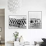 PLWCVERS Vintage Fashion Woman Swimmer Póster fotográfico en Blanco y Negro Impresión artística Hermosas Damas de Honor Cuadro de Lienzo Cuadro de decoración de Boda | 45x60cmx2 (Sin Marco)