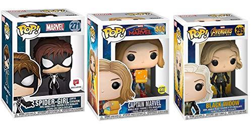 Girl Power Pop Mega Star Bundle: Spider-Girl 271 (Exclusive) + Captain Marvel 444 (Glow in The Dark) + Black Widow 295