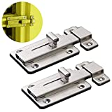 Door Bolts, 2 Pieces Stainless Steel Latch Sliding Door Lock, Surface Mounted Slide Bolt for All Types of Internal Doors (2in)