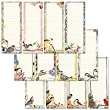 Seasonal Birds Magnetic Notepad Set – Set of 12 Mini Memo Pads, 12 Designs, 30-Sheet Pads, 2½ x...