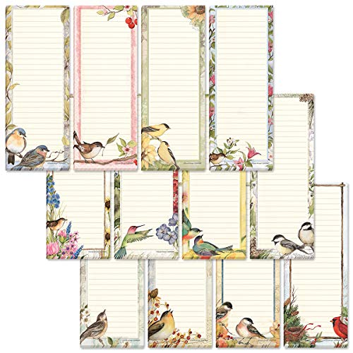 Seasonal Birds Magnetic Notepad Set – Set of 12 Mini Memo Pads, 12 Designs, 30-Sheet Pads, 2½ x 6½ Inches, Shopping List, to-Do Notes, Printed in The USA, by Current