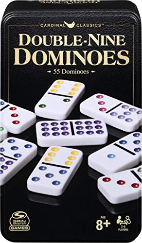 Double Nine Dominoes Set in Storage Tin, for Families and Kids Ages 8 and up