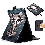 HKOTSCY Funda de piel sintética con función atril para Kindle Paperwhite (compatible con todas las nuevas generaciones de Paperwhite), diseño de elefante