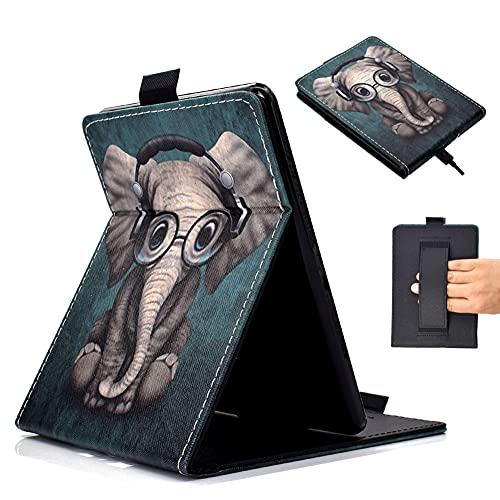 HKOTSCY Hülle für Kindle Paperwhite (10. Generation - 2018 / Alle Generationen) - Vertikal Flip Kunstleder Ständer Schutzhülle Smart Cover mit Handschlaufe und Auto Sleep/Wake - Elefant