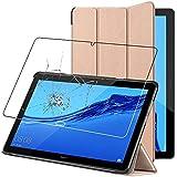 ebestStar - Funda Compatible con Huawei MediaPad M5 Lite 10.1 Carcasa Cuero PU y Silicona, Smart Cover Reposo Automático, Dorado +Cristal Templado [M5 Lite 10.1: 243.4 x 162.2 x 7.7mm, 10.1'']
