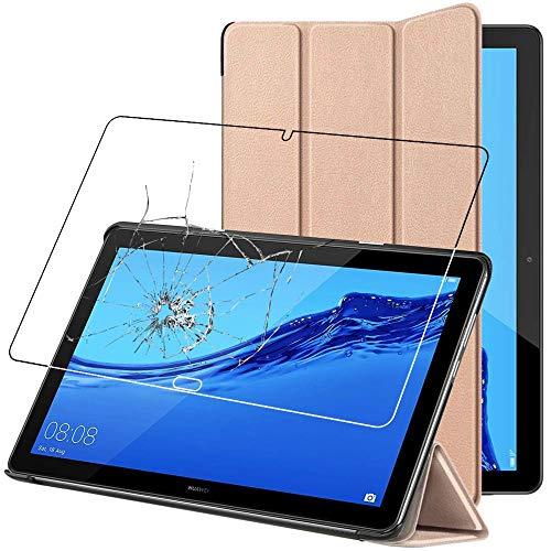 ebestStar - kompatibel mit Huawei MediaPad M5 Lite 10.1 Hülle Tablet 10.1 Smart Cover [Ultra Dünn] Schutzhülle Etui Ständer Hülle, Gold +Panzerglas Schutzfolie [M5 Lite 10.1: 243.4x162.2x7.7mm, 10.13]