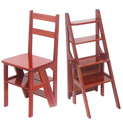 MKJYDM Taburete de la Escalera de 4 Capas del hogar Taburete Plegable Taburete de bambú Escalera Plegable de múltiples Funciones Silla de la Cocina Taburete de Paso 37x42x90cm Taburete
