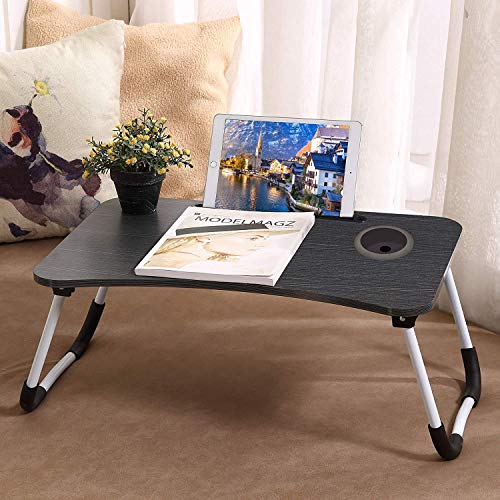 Lap Desk Foldable Portable Bed Desk for Laptop with Cup Slot and Writing with Notebook Stand Breakfast Bed Table Book Holder Laptop Bed Tray for Sofa, Bed, Terrace, Balcony, Garden(Black)