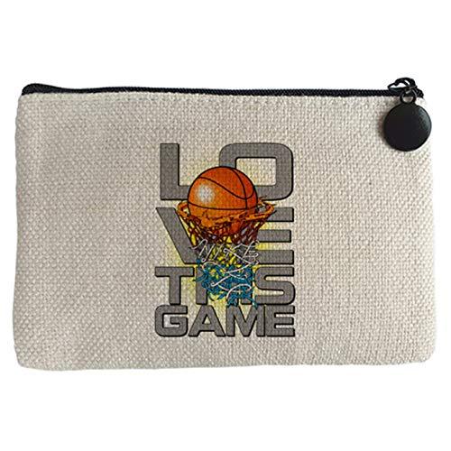 Monedero I Love This Game Basketball me gusta el baloncesto - Beige, 15 x 10 cm
