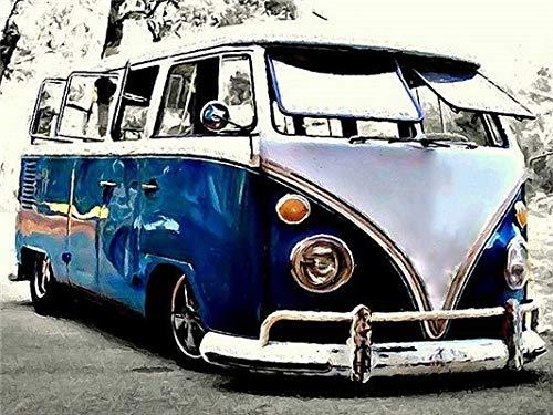 Hermoso coche autobús pintura al óleo por números imagen artística pintura acrílica dibujo sobre lienzo pintado a mano decoración del hogar A11 40x50cm