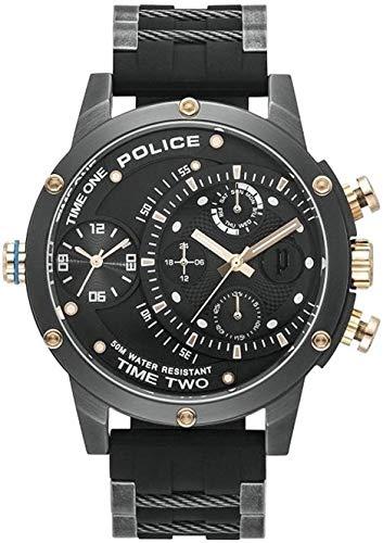 Police Unisex Erwachsene Analog Quarz Uhr mit Silikon Armband PL15983JSU.02P