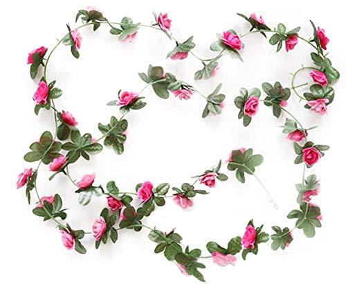 Red Rose Vine - Decoración de flores falsas para decoración de bodas, fiestas de jardín, pared para colgar en la pared, diseño de flores artificiales en 3D, color rojo rosa