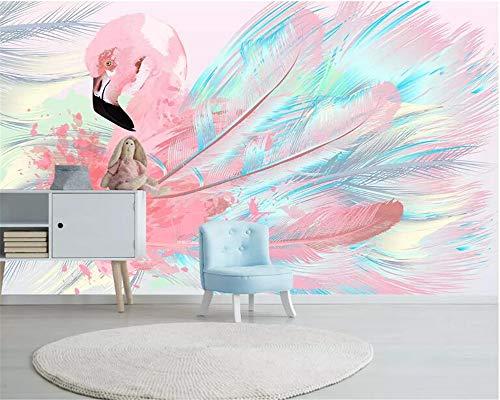 Papier Peints,Flamant Rose Peint À La Main Des Plumes De Couleur Série Animaux 3D Personnaliser Papier Peint Décoration Murale Art Imprimer Hd Photo De L'Affiche De Grandes Murales En Soie Pour Ch