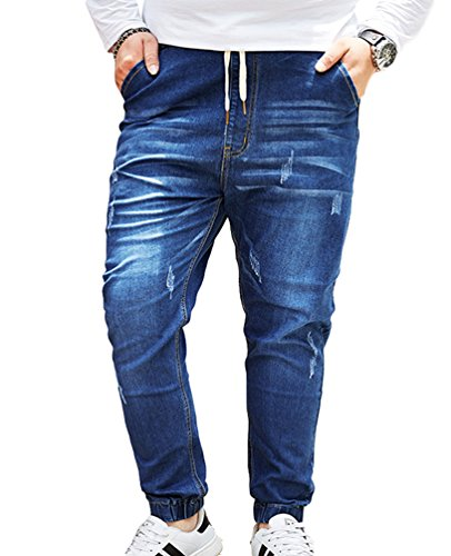 Heheja Uomo Tempo Libero Jeans Pantaloni Taglia Grossa Stretch Denim Pantaloni Blu Chiaro 8XL