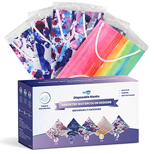 WeCare Disposable Face Mask Individually Wrapped - 50 Pack, Watercolor Print Masks - 3 Ply