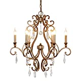 6-Light Vintage Dining Room Chandelier, Rustic Candle Style with Crystal Pendants, Farmhouse Lighting Fixture Hanging for Living Room and Kitchen, Antique Brushed Silver