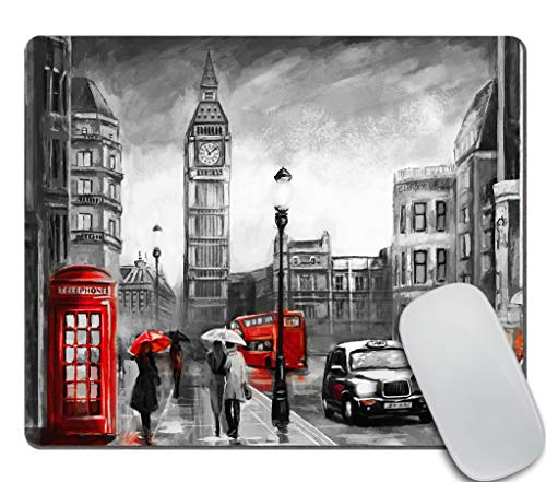 Amcove Oil Painting Gaming Mouse Pad Custom, Street View of London Mousepad,Funny Mousepad,Mousepad,Desk Accessory,Cute Mousepad 9.5 X 7.9 Inch (240mmX200mmX3mm)