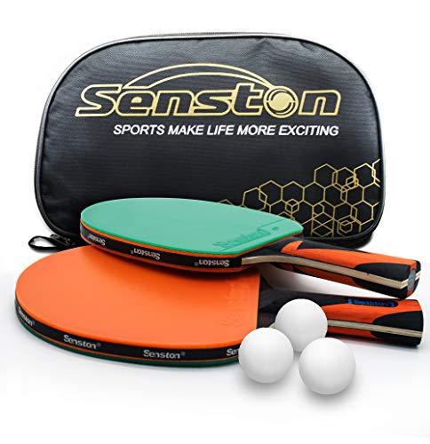 Senston Tischtennisschläger und -bälle, 2-Spieler-Set-Tischtennisschläger mit 3 Bällen, perfekt für Schule, Zuhause, Sportverein, Büro