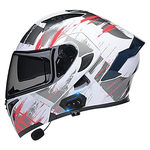 DYOYO Casco Moto Modulare Bluetooth Integrato, Certificazione ECE Caschi Modulari Apribili Dual Visor Anti-Fog Caschi, Casco Moto Integrale Full Face per Adulto 55~60cm