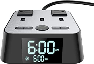Yostyle Alarm Clock Charger w/3 USB Ports and 2 ACOutlets, 6ft Power Cord Charging Station Power Strip for Hotel Home,UL Tested (4 Dimmer Brightness,Snooze,ON/Off Switch,DST Time,Battery Backup)