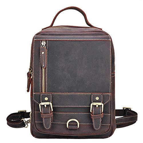 OakHide Vintage Leather Sling Bag Chest Daypack 2 in 1 Single Strap Shoulder Backpack For Men