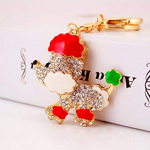 Ifingerring Girl Key Chain, Cartoon Poodle Dog Red Enamel Keychain Female Bag Animal Metal Jewelry Key Ring Pendant, Fashion Accessory Couple Friend Lover Girl Festival Gift