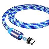 Leeofty Cable de Carga magnética de 1M / 2M Cable de Carga de teléfono móvil de Carga rápida LED Visible Diseño de Enchufe de Polvo de luz Que Fluye Línea de Carga USB para Dispositivos Type-C /