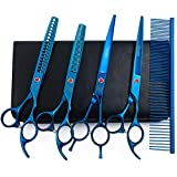 Professional Dog Grooming Scissors Set, 7 Inch/8 Inch Pet Grooming Scissors Chunkers Shears for Dog, Curved Dog Grooming Scissors, Thinning Shears for Dog with Grooming Comb