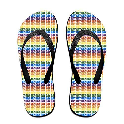Iop 90p Gay Gay Gay Flip Flops Hausschuhe Strand Sandalen Pool Schuhe, Schwarz - Schwarz - Größe: Large