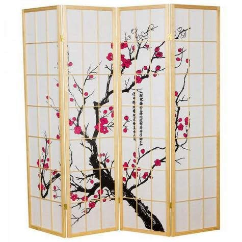 Fine Asianliving Japanese Room Divider Sakura Shoji Ricepaper 4 Panel - Natural